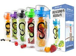 Live Infinitely 32 Oz. Infuser Water Bottles - Featuring A F