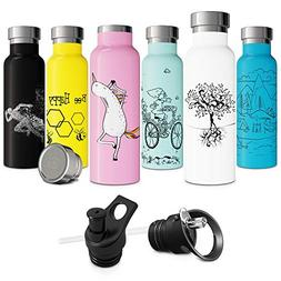 White Insulated Water Bottle with Straw Push-Pull Sports Cap