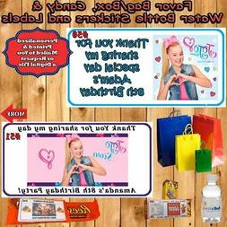 JoJo Siwa Birthday Water Bottle Labels Favor Candy Stickers