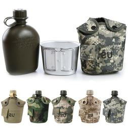 JW_ 1L Army Canteen Hydration Water Bottle For Outdoor Campi