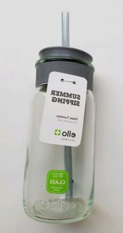 Ello Kella Glass Water Bottle Tumbler with Straw, 20 oz. BPA