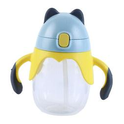 Kids Drinking Cup Plastic Straw Cup with Handle Water Bottle