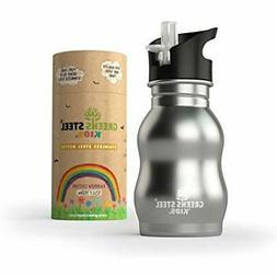 Kids Stainless Cups Steel Water Bottle 12 Oz - Sippy Leak Pr
