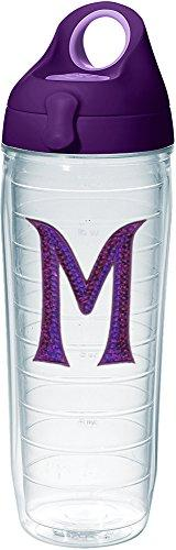 Tervis 1231698 INITIAL-M Purple Sequins Initial Tumbler with