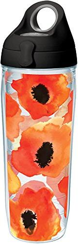Tervis 1243379 Watercolor Poppy Tumbler with Wrap and Black