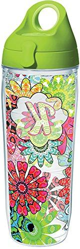 Tervis 1270668 INITIAL-K Flower Burst Tumbler with Wrap and