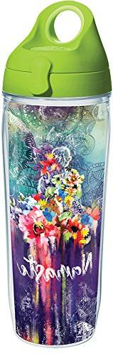Tervis 1288777 Namaste Tumbler with Wrap and Lime Green Lid