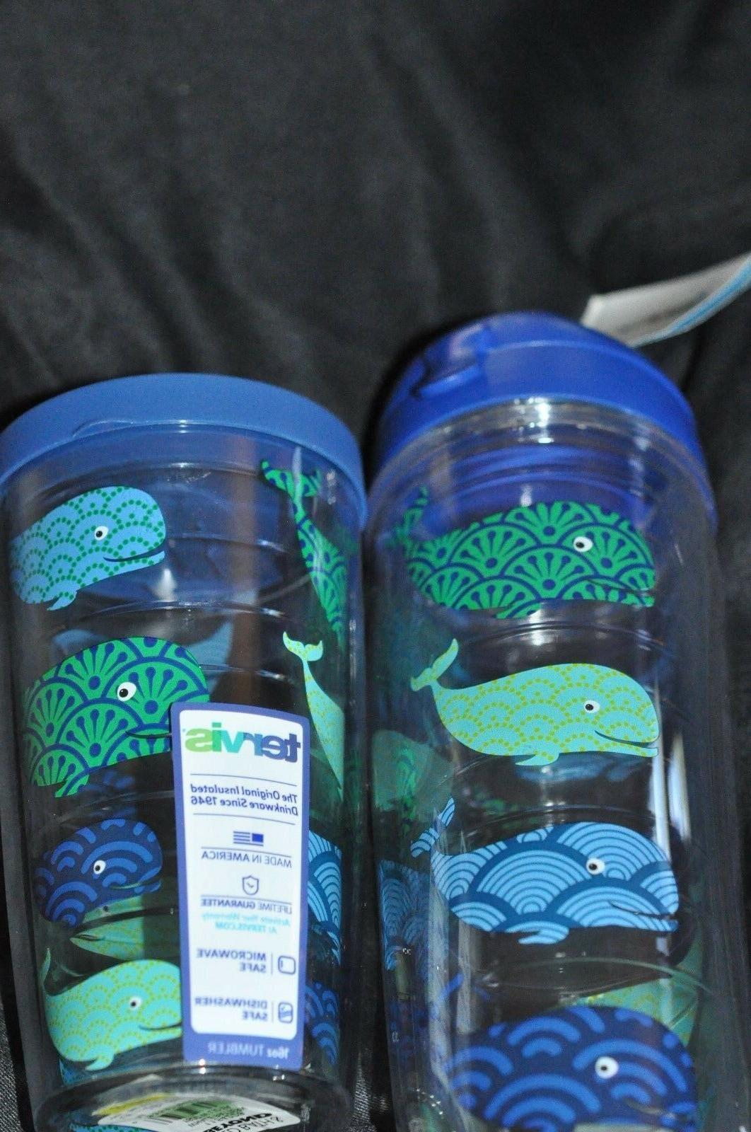 2 TERVIS GLASSES- 16 OZ TUMBLER & WATER BOTTLE -WHALE - NEW
