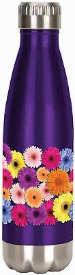 SPOONTIQUES 20605  FLOWERS STAINLESS WATER BOTTLE
