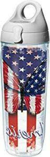 Tervis 24 oz Water Bottle NEW Red White & Blue Butterfly Fla
