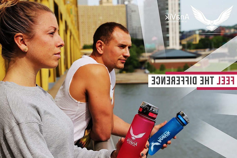 AnaVik 32oz Sports Water Bottle BPA Free Gym Fitness Yoga