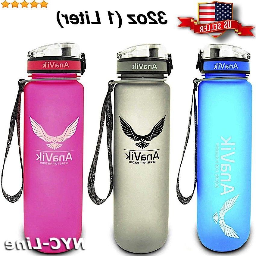 AnaVik 32oz Sports Water Bottle  BPA Free Non-toxic Gym Workout Fitness Yoga
