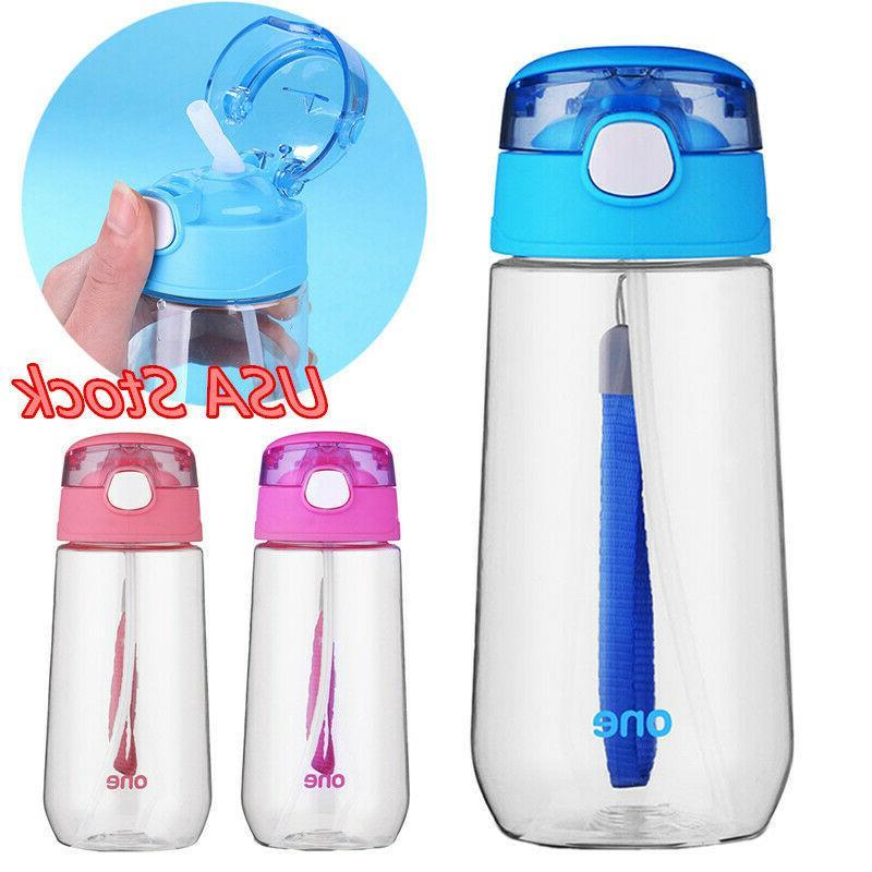 500ml sport kid straw water bottle drinking