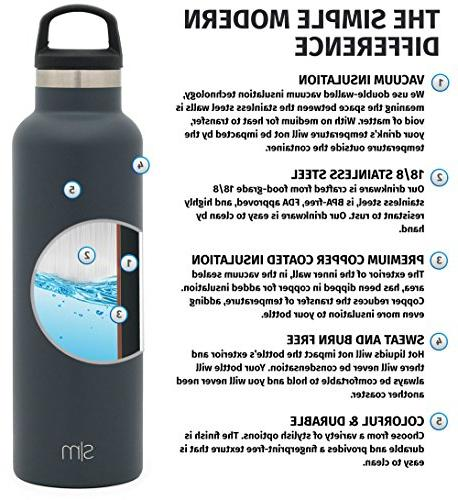 Simple Modern Ascent Water Bottle Steel Kids Lid Vacuum Insulated Reusable Leakproof -Graphite
