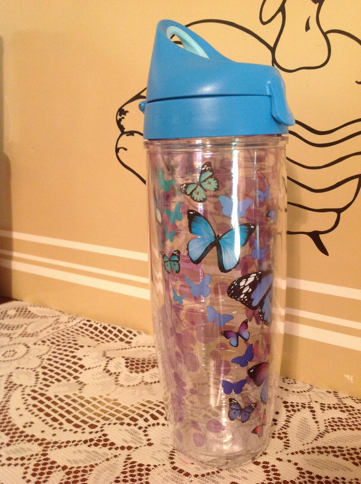 Tervis 1231948 Blue Endless Butterfly Tumbler with Wrap and