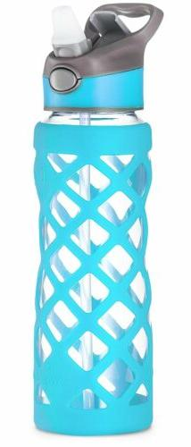 Swig Savvy Blue 25 Oz Glass Water Bottle With Changeable Lea