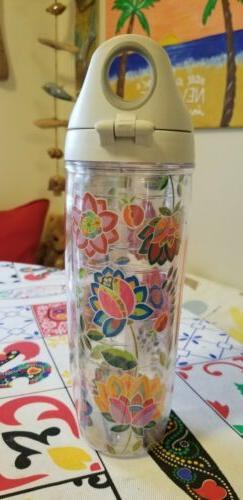 boho floral chic individual 24 oz water