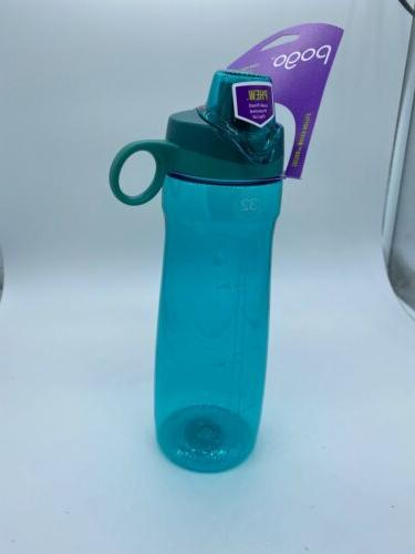 Pogo BPA-Free Plastic Water Bottle with Chug Lid, Teal, 32 o