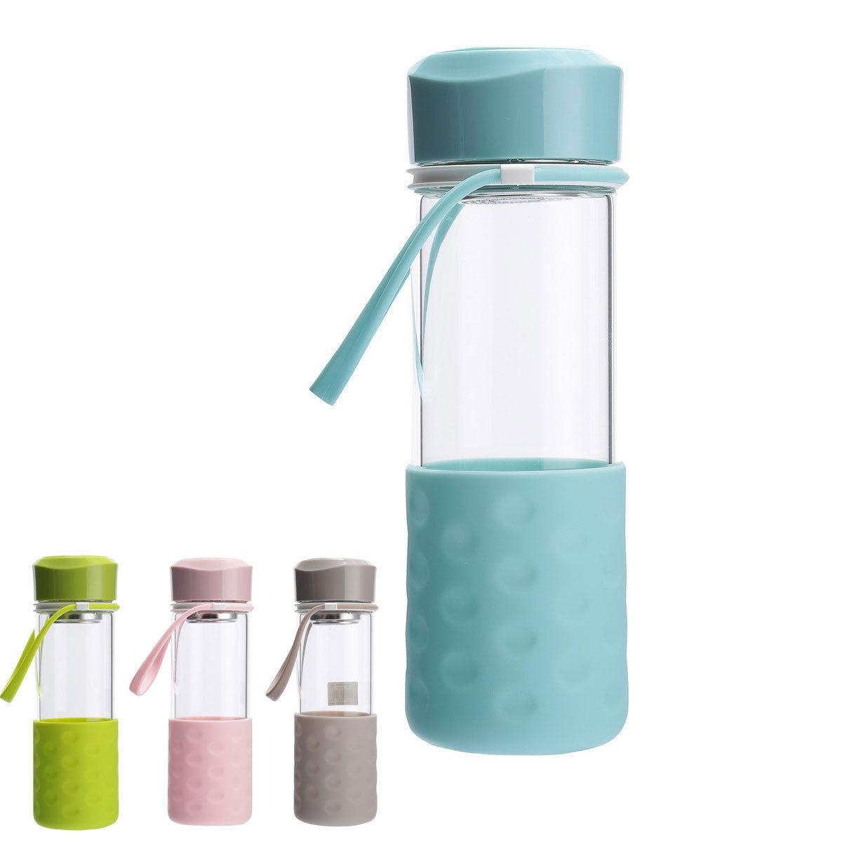 BPA-Free Glass Water Bottle 16oz with Strainer Anti-slip Sle
