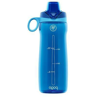 Pogo BPA-Free Plastic Water Bottle with Chug Lid, Grey, 18 o