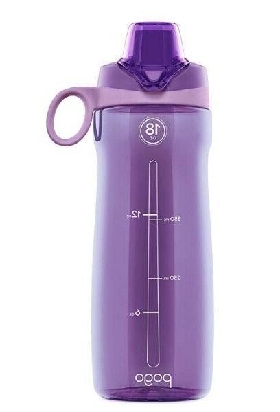 Pogo BPA-Free Plastic Water Bottle with Chug Lid, Purple, 18