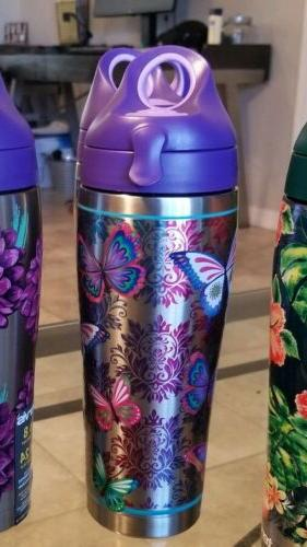 butterfly motif 24oz tumbler water bottle stainless