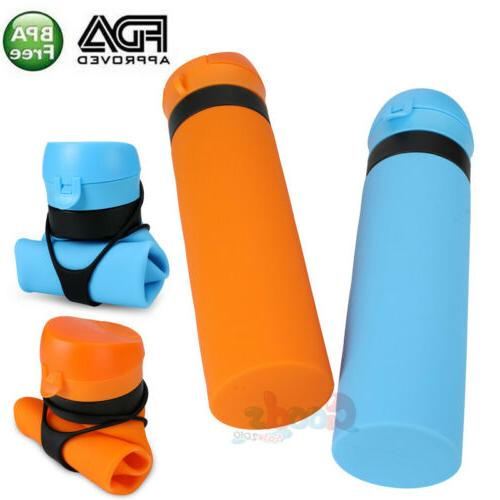collapsible water bottle bpa free silicone foldable