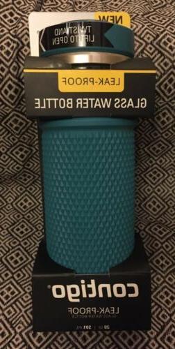 Contigo Evoke 20 oz Leak-Proof Glass Water Bottle Juniper Br