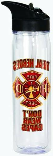 Firefighter Fire Rescue Flip Top Bottle Double Wall REAL HER