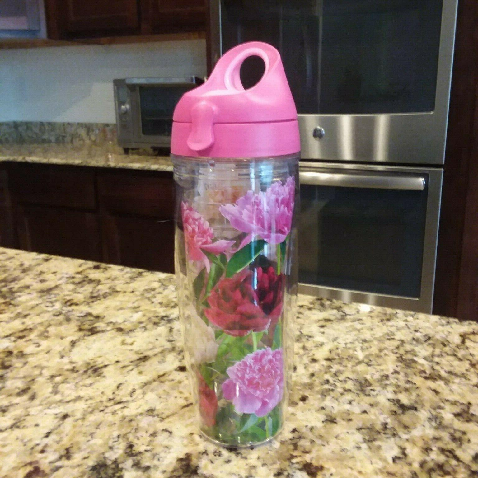TERVIS Water Bottle Hot Pink Lid Day Flowers