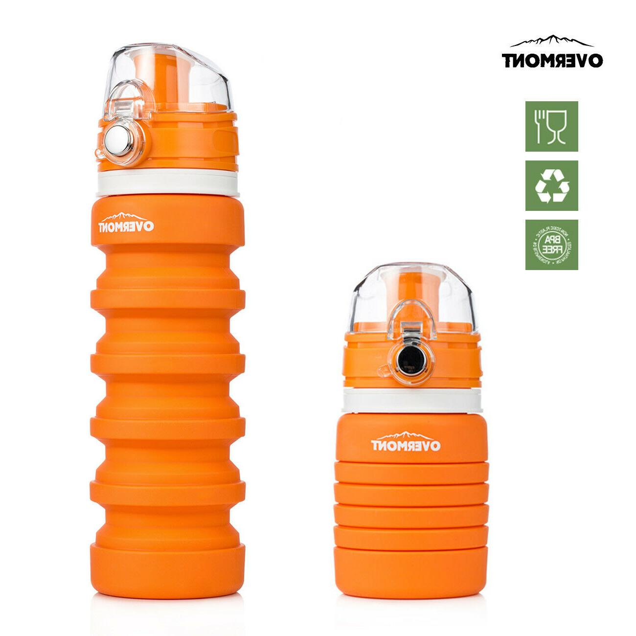 foldable soft silicone water bottle reusable collapsible