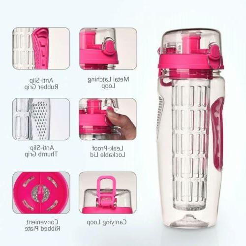 Fruit Infuser Water 32oz BPA Free Top & Anti-Slip Grips