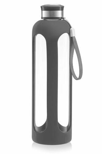 Swig Savvy Glass Water Bottle 20oz Gray - Break Resistant Gl