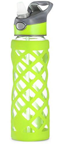 Glass Water Bottle With Protective Silicone Sleeve, Wide Mou