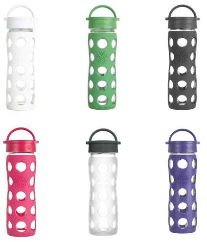 Lifefactory Glass Water Bottle w/Leakproof Cap & Slc. Sleeve