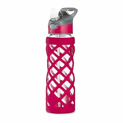 Swig Savvy Pink 25 Oz Glass Water Bottle With Changeable Lea