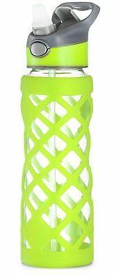 Swig Savvy Green 25Oz Break Resistant Glass Water Bottle Wit