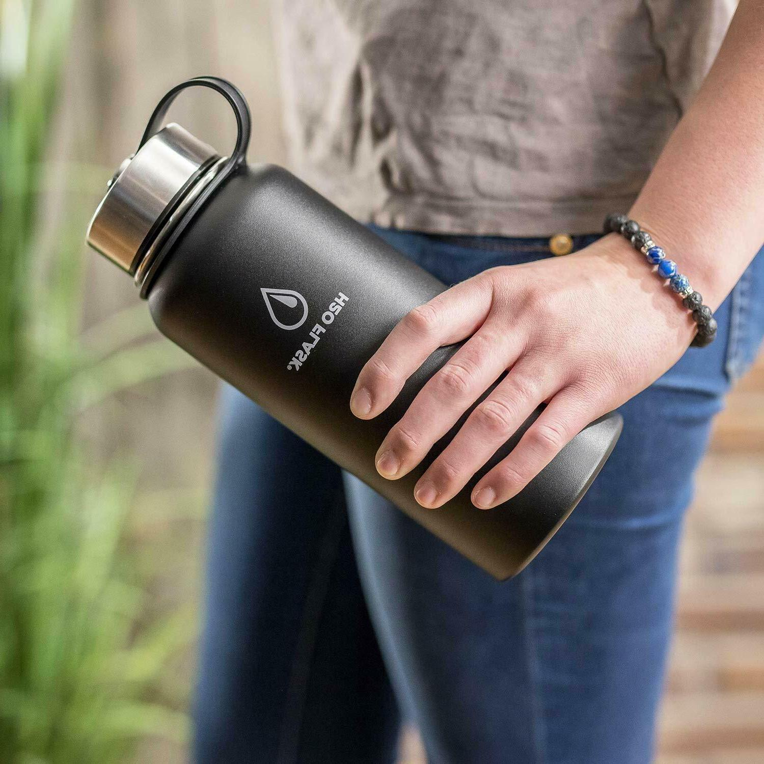 H20 Flask Bottle Stainless Steel Mouth with Lid Straw