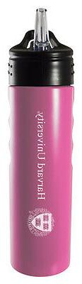 Stainless Steel Grip Water Bottle with Straw-Pink LXG Inc Harvard University-24oz