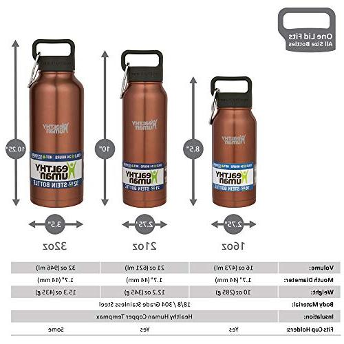 Healthy Human Steel Bottle Stein - 6 Hours Walled Vacuum Hydro Guide - 16 oz Gold