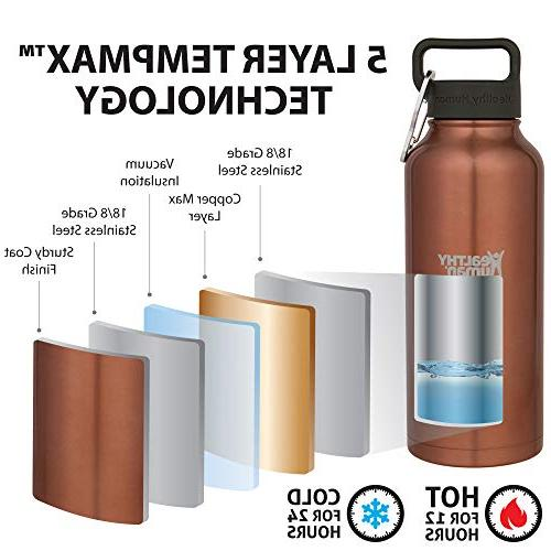 Healthy Human Insulated Stainless Steel Water - Hours/Hot 6 - Walled Flask with Hydro & - Sunset Gold