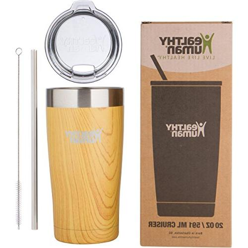 Healthy Human Tumbler Cruisers with Steel Straw & Lid - Hot & Cold Beverages 2 Longer Vacuum Walled Golden Oak