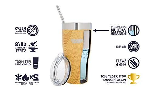 Healthy Cruisers Stainless Straw & - Keeps Hot Cold Beverages Longer Walled Thermos oz. Golden Oak