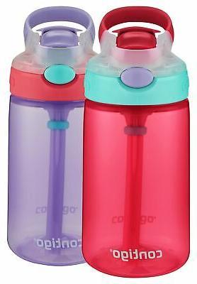 Contigo Kids Gizmo Flip Water Bottles, 14oz, Cherry Blossom/