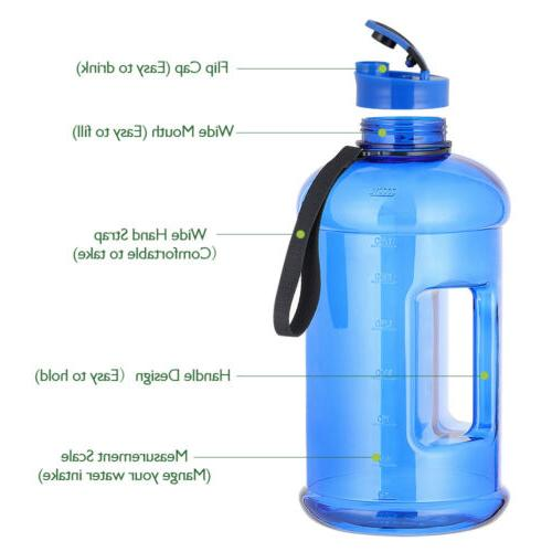 2.2L Large Water Bottle Plastic Jug Wide Mouth for Sport Bic
