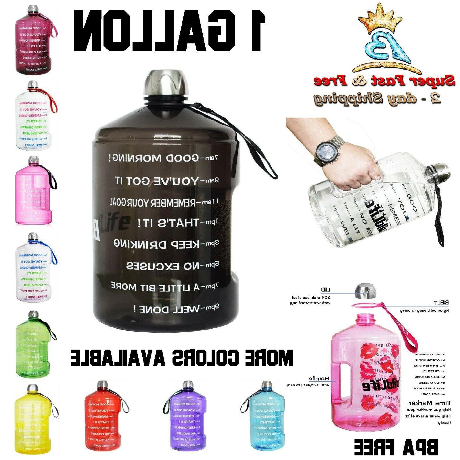 BPA Free Motivational Fitness Workout Large Water Bottle Tim