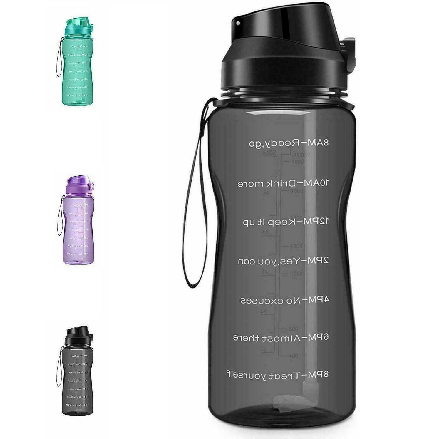 Motivational Water 2.2L/64oz Half Gallon Jug Straw Time