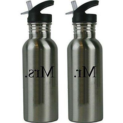 Mr. and Mrs. Stainless Steel Water Bottle Wedding Set with S