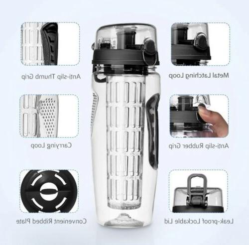 NEW Fruit Bottle 32oz Flip Top Grips BPA
