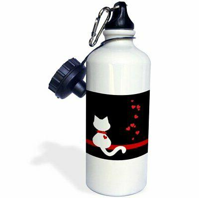 3dRose Pet Lovers Red Hearts White Kitty Cat, Sports Water B
